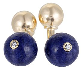 Tiffany & Co. 18K Yellow Gold 0.06ct Diamond and Lapis Lazuli Sphere Cufflinks