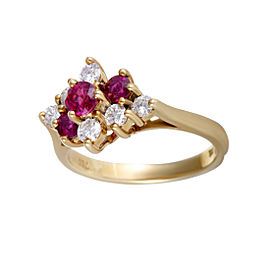 Tiffany & Co. 18K Yellow Gold 0.25ct Ruby & Diamond Rhomb Ring Size 4.5