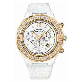 New Versace DV One 28CCP11D001 S001 Gold IP Ceramic 43MM Diamond Quartz Watch