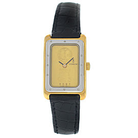 New Ladies Corum Ingot 24.300.21 24K Yellow Gold Steel Quartz Watch