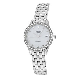 New Ladies Longines Flagship L42740876 Steel Watch Diamond MOP $3,350 Automatic