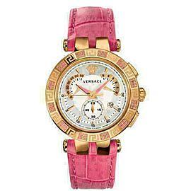 New Versace V-Race Chronograph 23C811D002 S111 Gold Tone Steel 42MM Quartz Watch