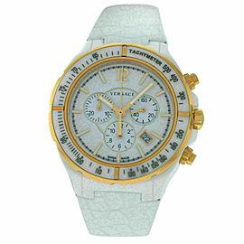 New Versace DV One 28CCP1D001 S001 Gold Tone Ceramic Chrono 43MM Quartz Watch