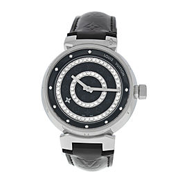 Men's Louis Vuitton Tambour Q111C Stainless Steel Diamonds Quartz 39MM Watch