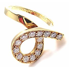Van Cleef & Arpels 18k Yellow Gold Diamond Swirl Band Ring