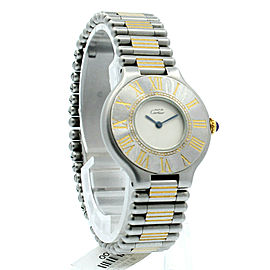 Ladies CARTIER Must De Cartier 21 Steel and Gold Round Dress Watch