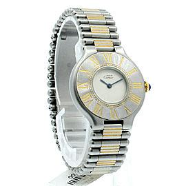 Ladies CARTIER Must De Cartier 21 Steel and Gold Round Dress Watch