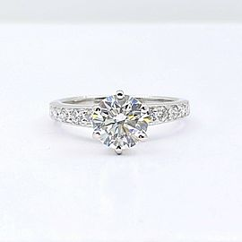 Tiffany & Co Round Diamond with Channel Set Band 1.41 tcw Engagement Ring Plat