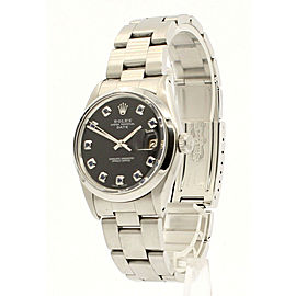 Mens Vintage ROLEX Oyster Perpetual Date 34mm Black Dial Stainless Watch