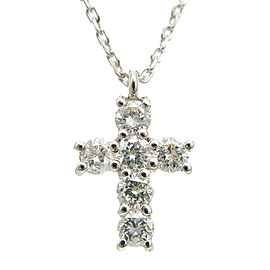Authentic VENDOME AOYAMA Cross Diamond Necklace 0.30ct Platinum Used F/S