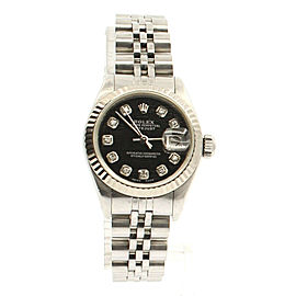 ROLEX Oyster Perpetual Datejust Steel 26mm BLACK Meteorite Diamonds Dial Watch