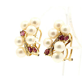 FINE ESTATE 14K YELLOW GOLD PEARL DIAMOND EARRINGS 11 GRAMS