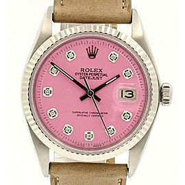 Mens Vintage ROLEX Oyster Perpetual Datejust 36mm PINK Diamond Dial Watch