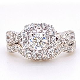 Neil Lane 1.08 tcw Twisted Band Round Diamond Engagement Ring with Diamond Band
