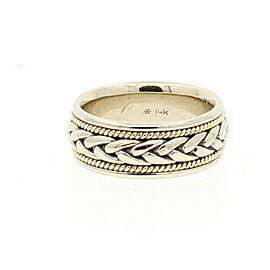 Men's 14k White Yellow Gold Knotted Wide Band Ring 10.6 grams Size 7.25