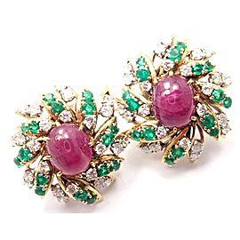 David Webb 18k Yellow Gold Platinum 3ct Diamond Emerald Ruby Earrings