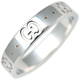 Authentic GUCCI ICON Ring 18k WG 750 White Gold US7-7.5 HK16 EU55 Used F/S