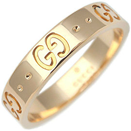 Authentic GUCCI ICON Ring K18 YG 750 Yellow Gold #13 US6-6.5 HK14 EU53 Used F/S