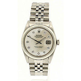Mens Vintage ROLEX Oyster Perpetual Datejust 36mm MOP Diamond Dial Watch