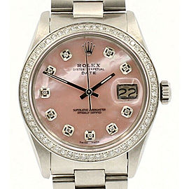 Mens ROLEX Oyster Perpetual Date 34mm PINK MOP Dial Diamond Stainless Watch