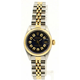 ROLEX Oyster Perpetual 18k & Stainless Datejust 26mm Blue Dial Diamond Watch