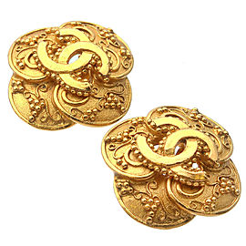 Authentic CHANEL Coco Mark Vintage Earrings Gold 96A Used F/S