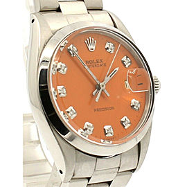 Mens ROLEX OysterDate Precision 6694 Stainless Steel Orange Dial Diamond Watch