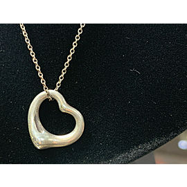 Tiffany & Co. Sterling Silver Elsa Peretti Open Heart Pendant & Chain 18""