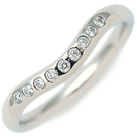 Authentic Tiffany&Co. Curved Band Ring 9P Diamond Platinum 4.5