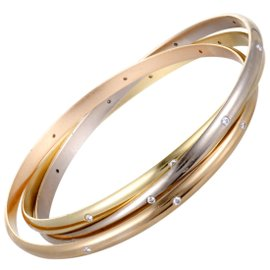 Cartier Trinity 18K White, Yellow and Rose Gold Diamond Rolling Bangle Bracelet