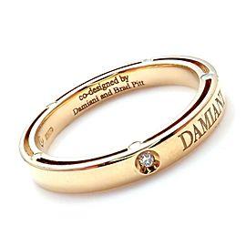 Damiani Brad Pitt 18k Yellow Gold 11 Diamond 3mm Band Ring Sz 7.5