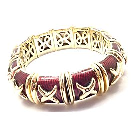 Hidalgo 18k Yellow Gold Red Enamel X Flexible Cuff Bangle Bracelet
