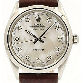 ROLEX OysterDate Precision 6694 AIR KING Steel White MOP Dial Diamond Watch