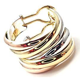 Cartier 18k Tri-Color Gold Medium Size Trinity Hoop Earrings