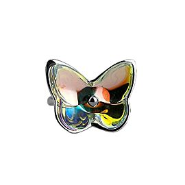 BACCARAT JEWELRY PAPILLON BUTTERFLY STERLING SILVER IRIDESCENT RING SZ 55-7 NEW