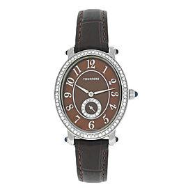 Tourneau Oval 34004-A-BRN Ladies Diamond MOP Steel 27MM Quartz Watch