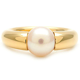 Authentic Cartier Perla Pearl Ring K18 750 Yellow Gold #54 US7 EU54.5 Used F/S