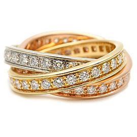 Authentic Cartier Trinity Ring Full Diamond K18 YG/WG/PG #50 US4.5 EU48 Used F/S
