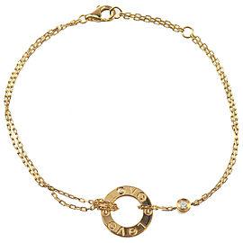 Authentic Cartier Love Circle 2P Diamond Bracelet K18 750 Yellow Gold Used F/S