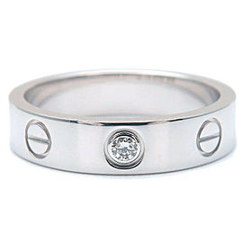 Authentic Cartier Mini Love Ring 1P Diamond K18 White Gold #47 US4-4.5 Used F/S