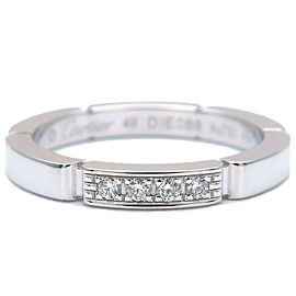 Authentic Cartier maillon Panthère 4P Diamond Ring White Gold #49 US5 Used F/S