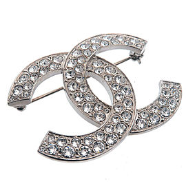 Authentic CHANEL Coco Mark Rhinestone Brooch Silver C20S Used F/S