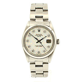 Mens Vintage ROLEX Oyster Perpetual Date 34mm WHITE OPAL Dial Diamond Stainless