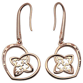 Auth Louis Vuitton Boucle d'oreille Coeur Earrings K18 Rose Gold Q96121 Used F/S