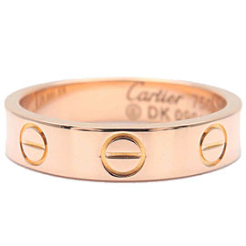 Authentic Cartier Mini Love Ring K18 750 Rose Gold #46 US4 HK8 EU46 Used F/S
