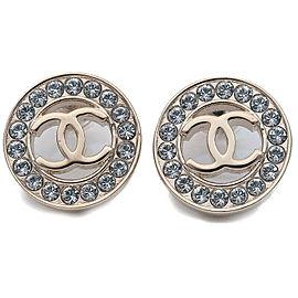 CHANEL Coco Mark Rhinestone Earrings Champagne Gold