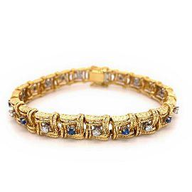 1.50 tcw Diamond & Blue Sapphire 18kt Yellow Gold Square Link Bracelet