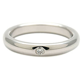 Authentic Tiffany&Co. Stacking Band Ring 1P Diamond Platinum US4 EU47 Used F/S
