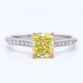 Tiffany & Co Fancy Intense Yellow Cushion NOVO 1.28 tcw Diamond Engagement Ring