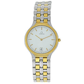 Omega DeVille 396.1016 Gold Stainless Steel Date Quartz Unisex 32MM Watch